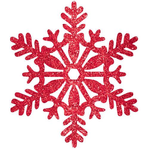 11 Red Glitter Snowflake