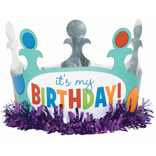 Birthday dots and stripes foil crown w fringe for Dots and stripes party theme