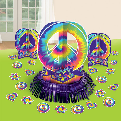 Feeling groovy table decorating kit for 60s party decoration