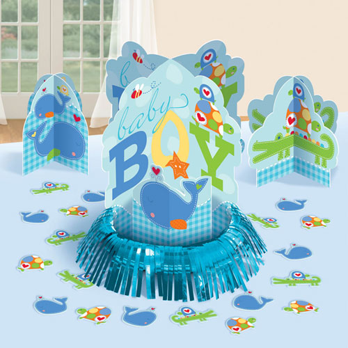 Ahoy baby table decorating kit for Baby boy shower decoration kits