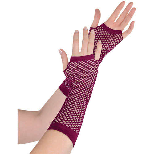 Burgundy long fishnet fingerless gloves ziggos