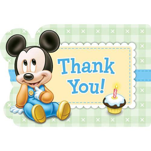 Mickey's First Birthday Thank You Notes