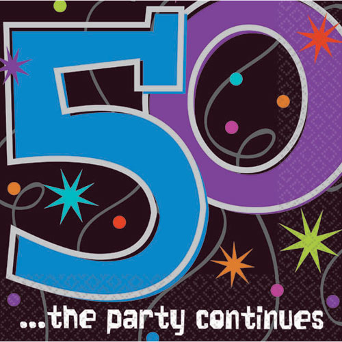 50 the party continues beverage napkins 16ct. Black Bedroom Furniture Sets. Home Design Ideas
