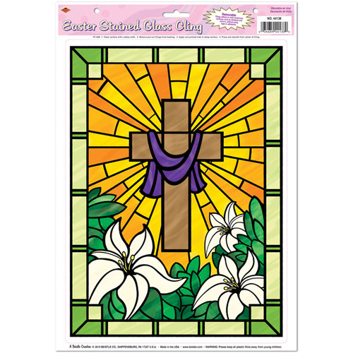 easter stained glass window clings. Black Bedroom Furniture Sets. Home Design Ideas