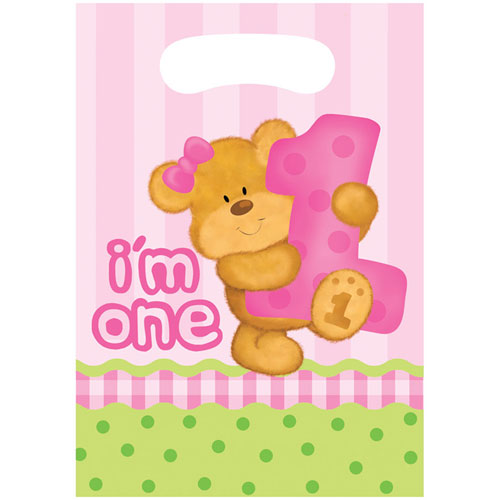 Bears 1st Birthday Girl Loot Bags (8ct)