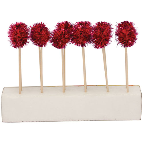 Glitz Red Pom Pom Cocktail Picks - Ziggos.com