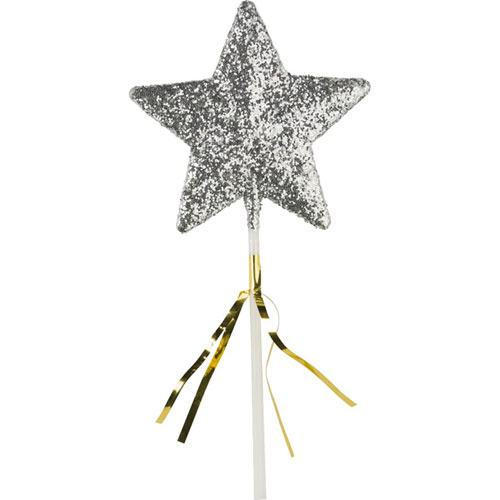 Glitter star wand silver with tinsel for Glitter wand